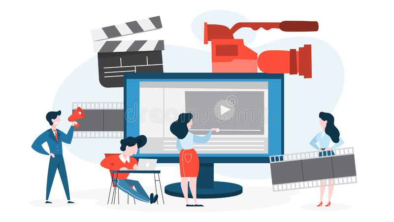 Video production concept. Idea of shooting movie. Cinema industry. Clapper and camera, equipment for film making. Isolated vector illustration in cartoon style stock illustration