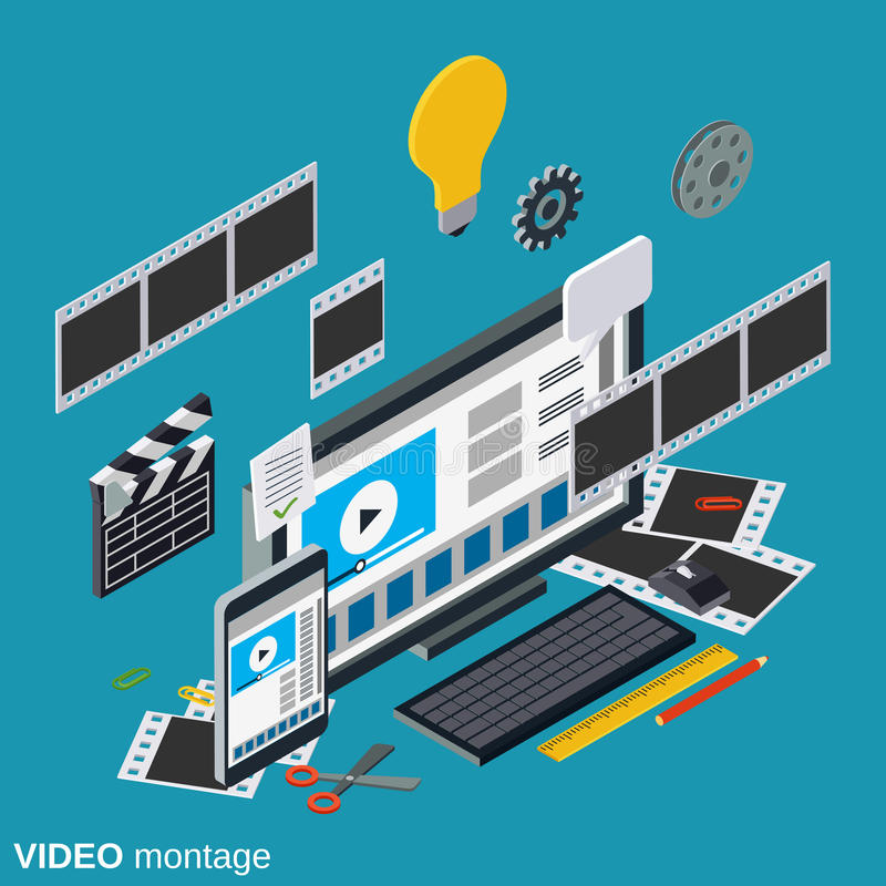 Video production, editing, montage vector concept royalty free illustration
