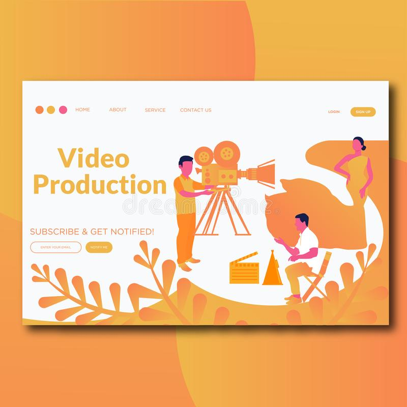 Video Production- Flat style video production illustration landing page royalty free illustration