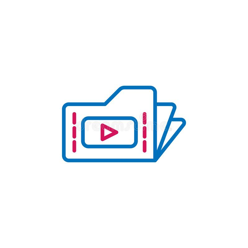 Video production, folder icon. Element of 2 color video production icon. Premium quality graphic design icon. Signs and symbols. Collection icon for websites vector illustration