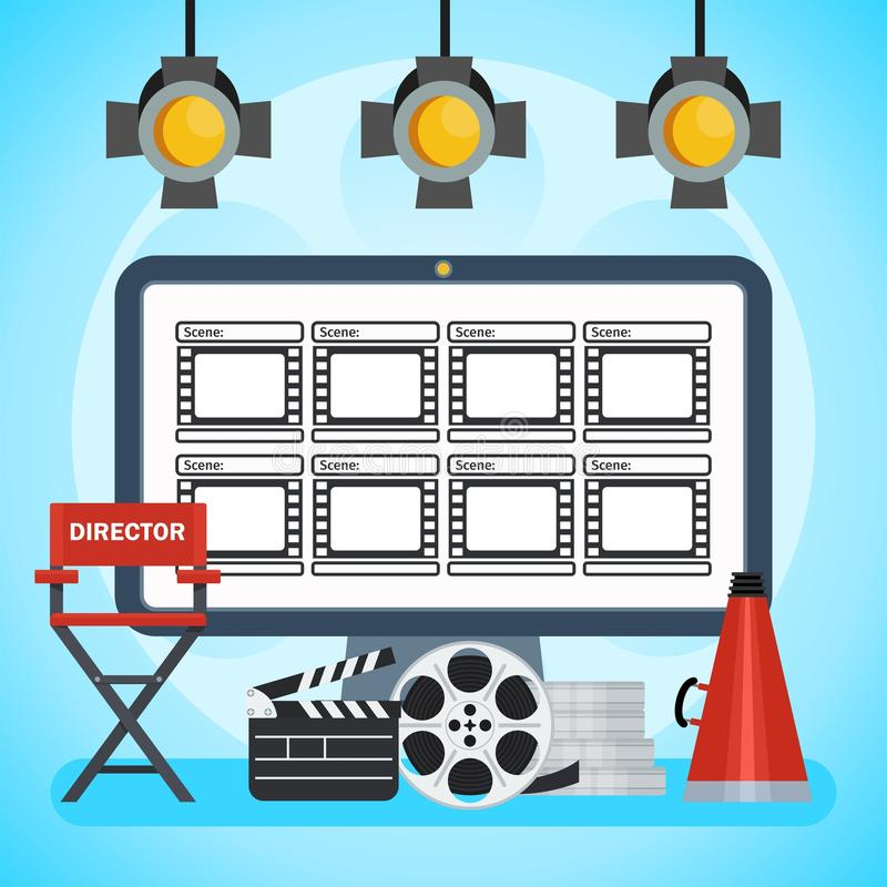 Video production poster. Computer and Storyboard, director chair and film. Flat vector cartoon illustration. Objects isolated on a white background vector illustration