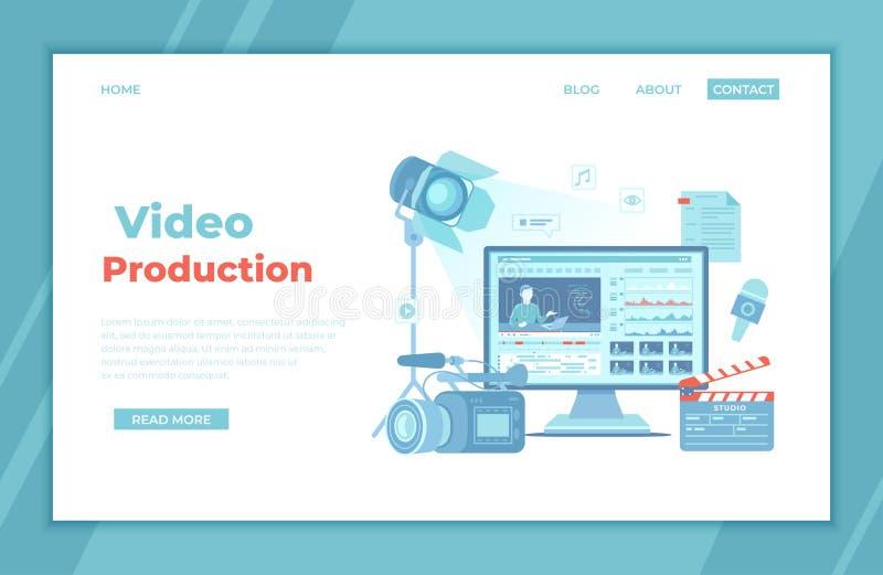 Video Production, Recording, Videography, Blogging. Design tv news studio. Ð¡amera, microphone, clapper board, video editor. On screen, scenario, illuminator royalty free illustration