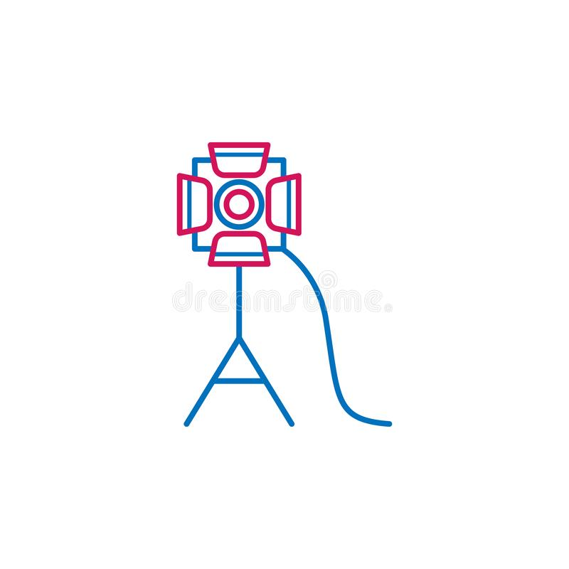 Video production, spotlight icon. Element of 2 color video production icon. Premium quality graphic design icon. Signs and symbols. Collection icon for websites royalty free illustration