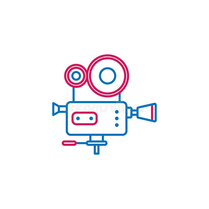 Video production, video camera icon. Element of 2 color video production icon. Premium quality graphic design icon. Signs and vector illustration