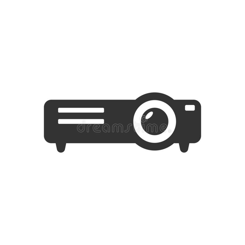 Video projector sign icon in flat style. Cinema presentation device vector illustration on white isolated background. Conference. Business concept vector illustration