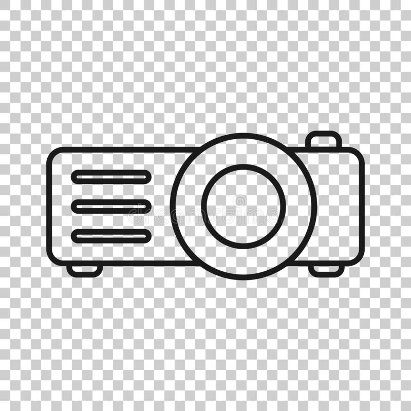 Video projector sign icon in transparent style. Cinema presentation device vector illustration on isolated background. Conference. Business concept royalty free illustration