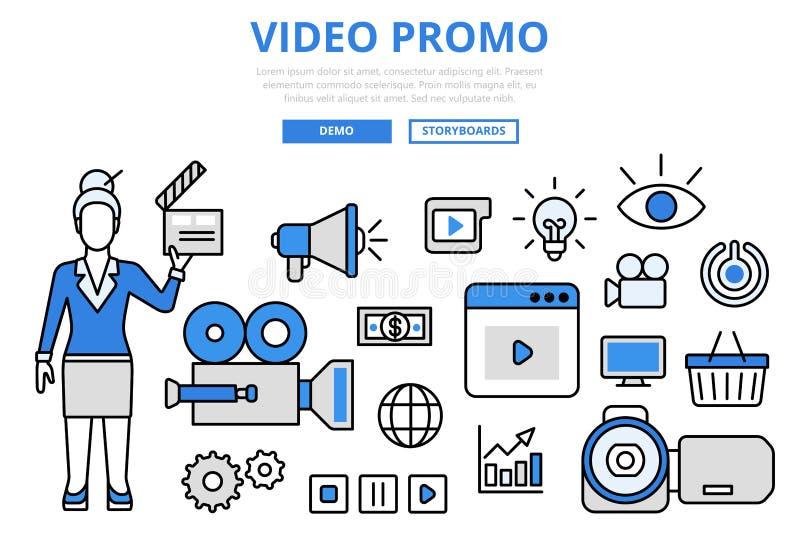 Video promo digital marketing concept flat line art vector icons. Video promo digital marketing promotion technology concept flat line art vector icons. Modern royalty free illustration