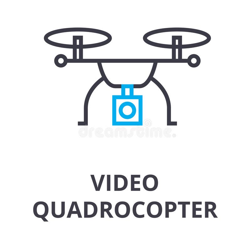 Video quadrocopter thin line icon, sign, symbol, illustation, linear concept, vector royalty free illustration