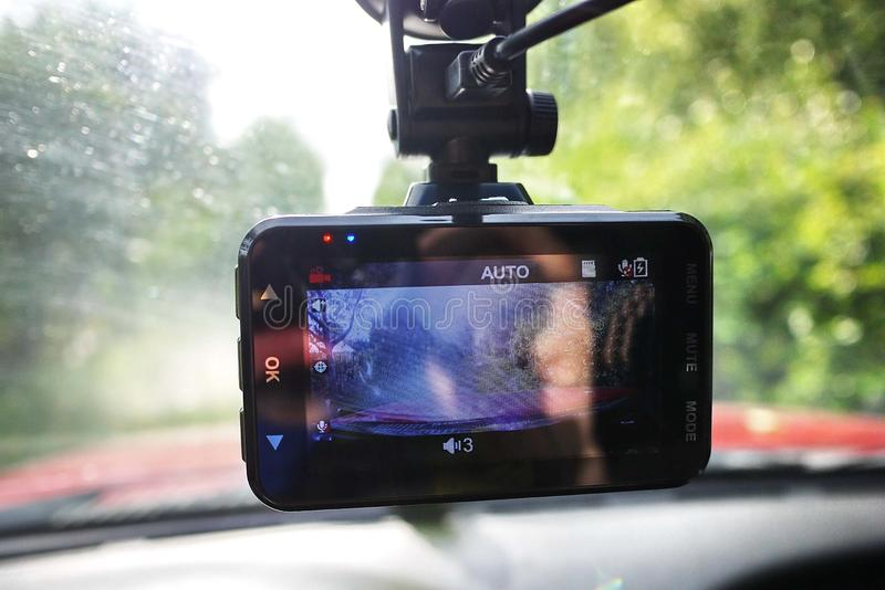 Video recorder to record the traffic situation while driving your car. It can be used both in cars and trucks. stock photo
