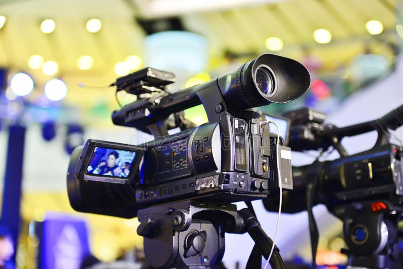 Video recording activity, television cameras royalty free stock images