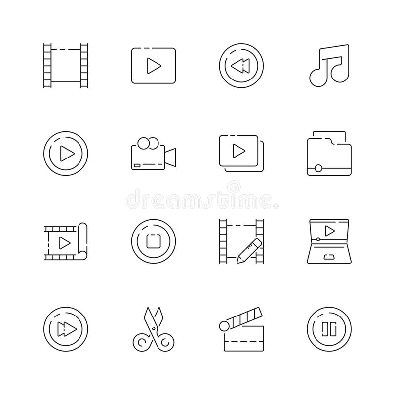 Video redigerande symbol E stock illustrationer