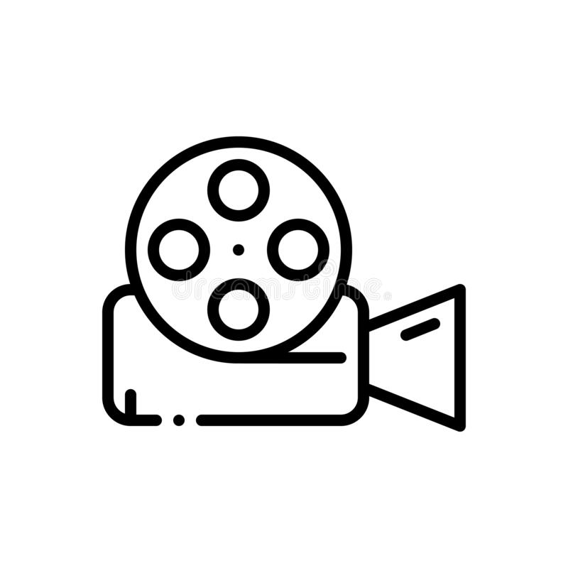 Black line icon for Video Reel, film and technology. Black line icon for video, reel, entertainment, videocamera, miscellaneous,  film and technology vector illustration