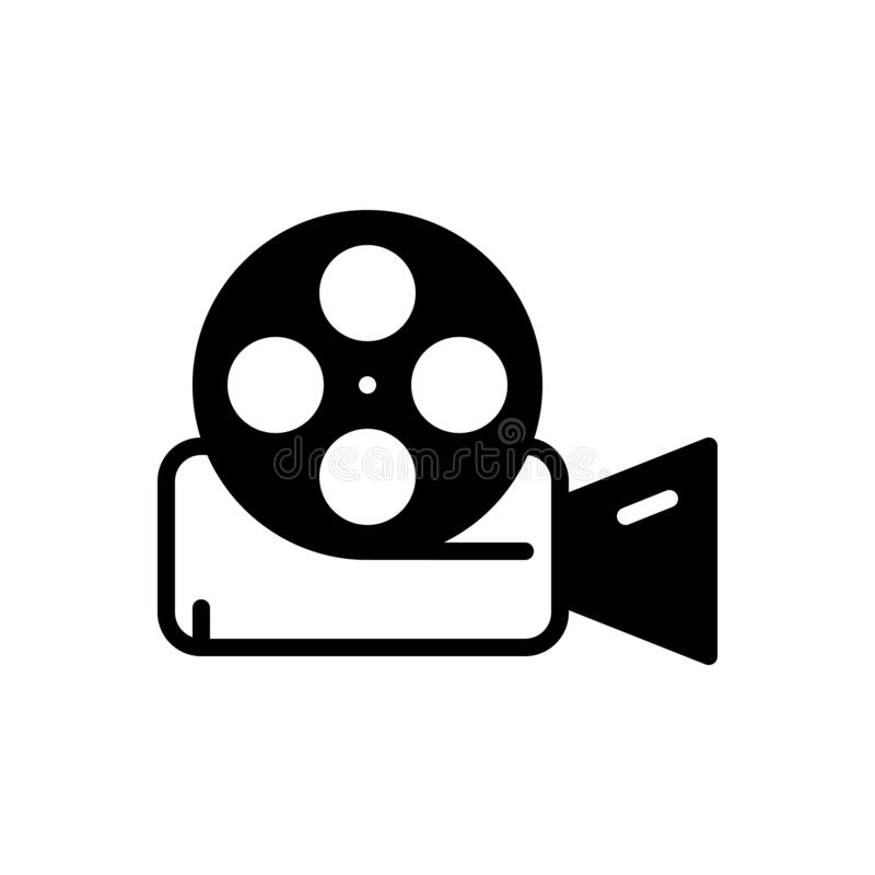 Black solid icon for Video Reel, film and entertainment. Black solid icon for Video Reel, technology, video camera,  film and entertainment stock illustration