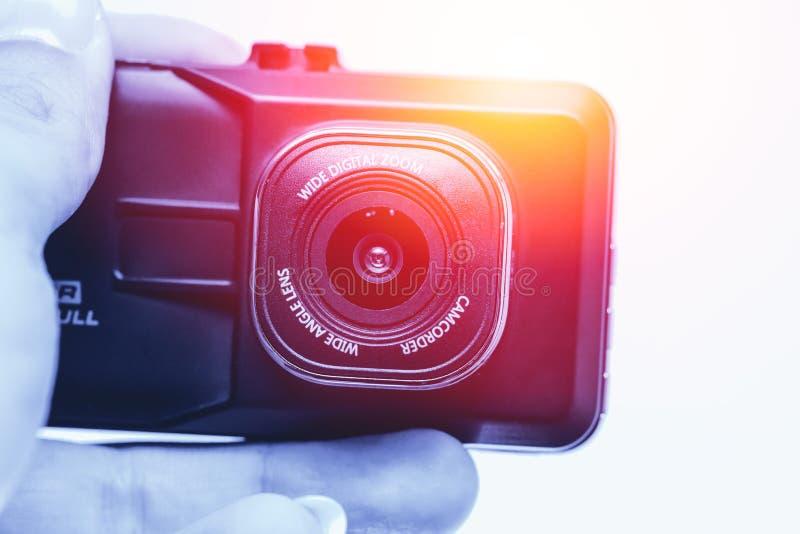 Video registrazione del CCTV della tenuta della mano, camcoder della macchina fotografica fotografie stock libere da diritti