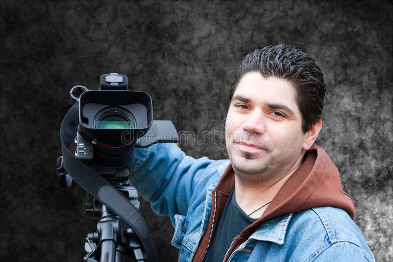 Video reporter. Photograph of video reporter (isolated stock images