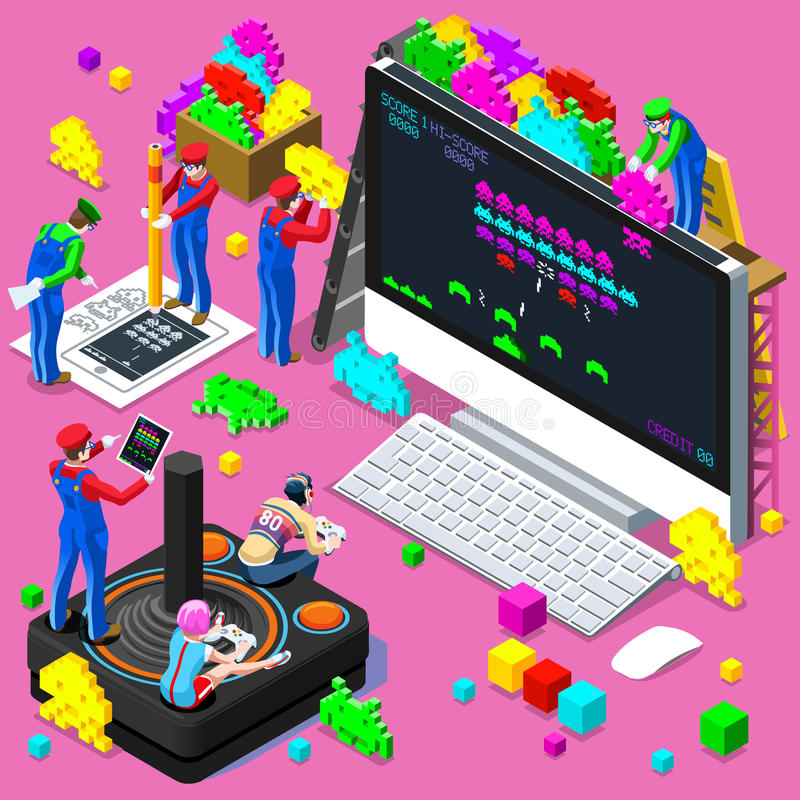 Video Retro Game Gaming Isometric People Vector Illustration stock illustration