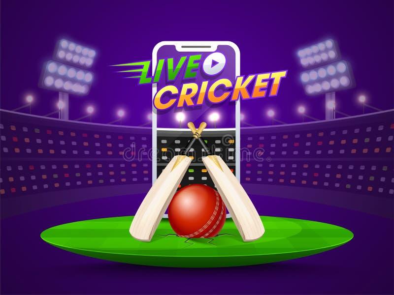 Video schermo alla moda di Smartphone che mostra la partita in tensione del cricket royalty illustrazione gratis