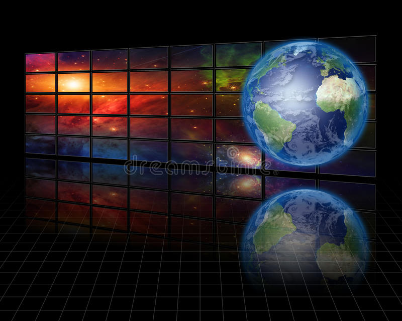 Download Video Screens with Earth stock illustration. Illustration of film - 16449729