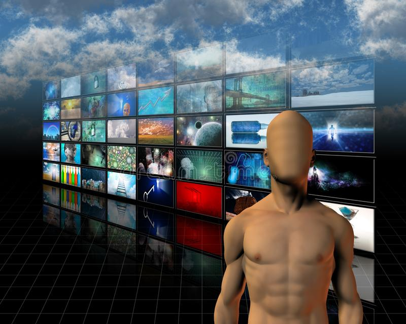 Video screens. Faceless man before video screens. Human elements were created with 3D software and are not from any actual human likenesses stock illustration