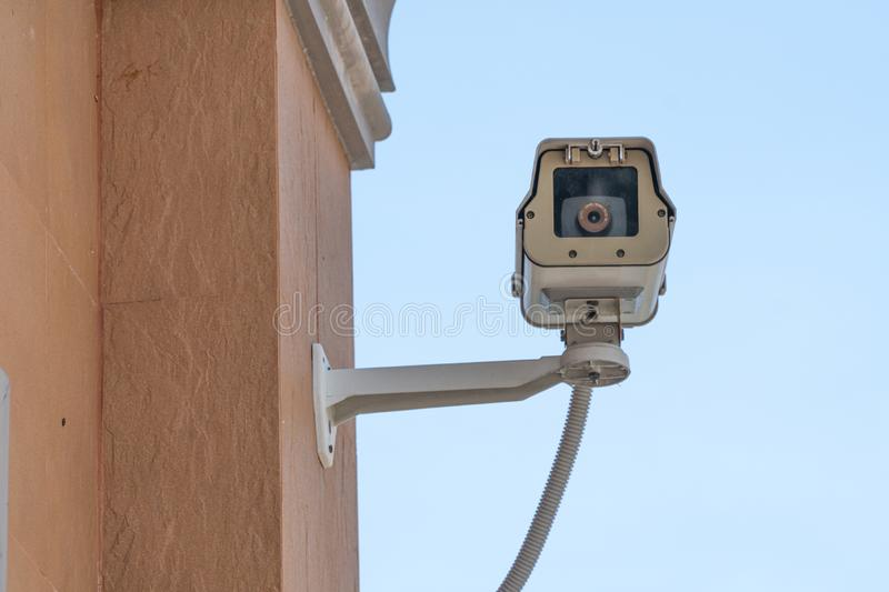 Video security camera or recording surveillance camera. Protection safety system guard royalty free stock photography