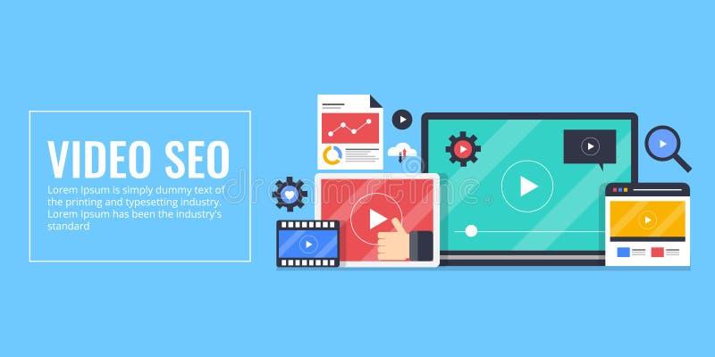 Video seo, optimization, digitalt massmedia som marknadsför begrepp Plan designvektorillustration stock illustrationer