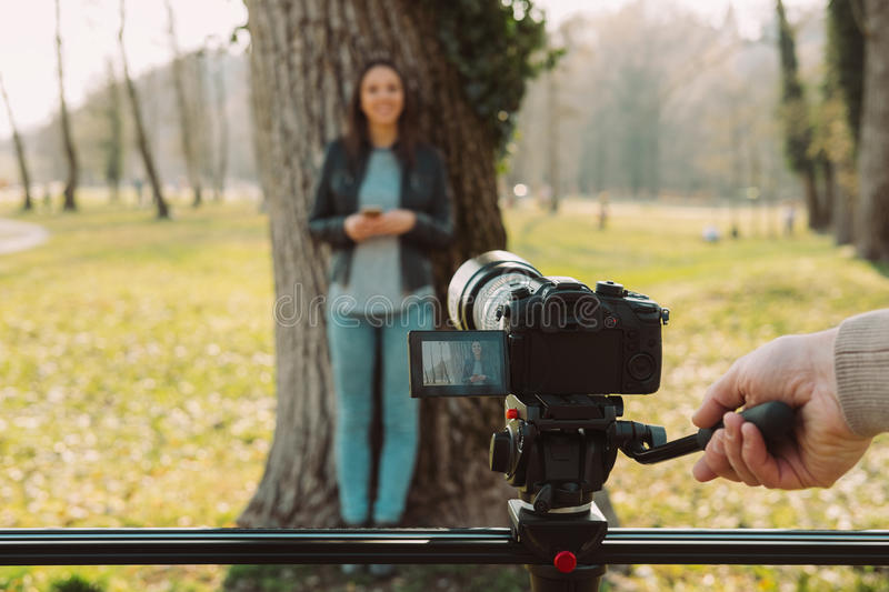 Video shooting at the park stock images