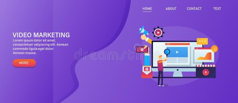 Video skapelse för den digitala marknadsföringen, socialt massmedia som annonserar, man som söker videoen på internetbegrepp stock illustrationer