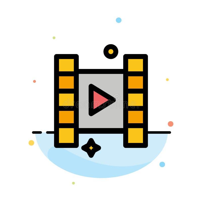 Video, Spel, het Pictogrammalplaatje van de Film Abstract Vlak Kleur royalty-vrije illustratie