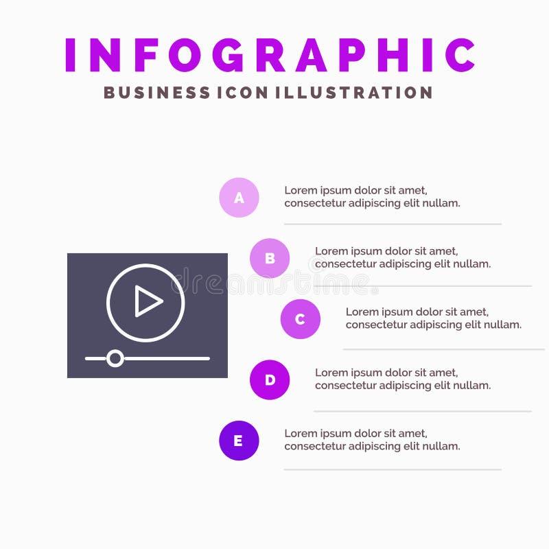 Video, Spel, Online, Marketing Stevig Pictogram Infographics 5 de Achtergrond van de Stappenpresentatie vector illustratie