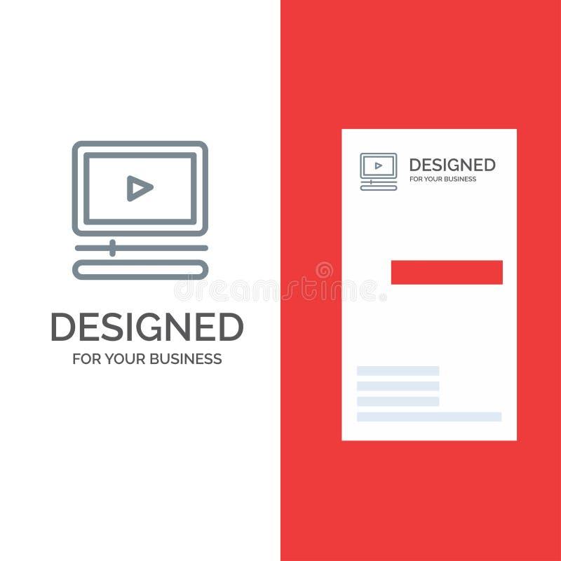 Video, Speler, Audio, Mp3, Mp4 Grey Logo Design en Visitekaartjemalplaatje royalty-vrije illustratie