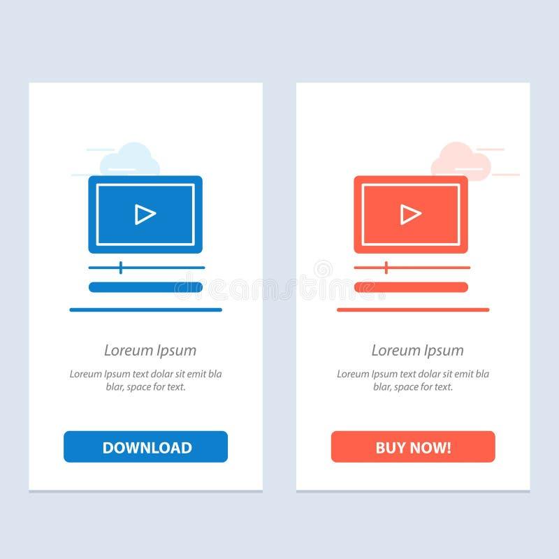 Video, Speler, Audio, van Mp3, van Mp4 koopt de Blauwe en Rode Download en nu de Kaartmalplaatje van Webwidget stock illustratie