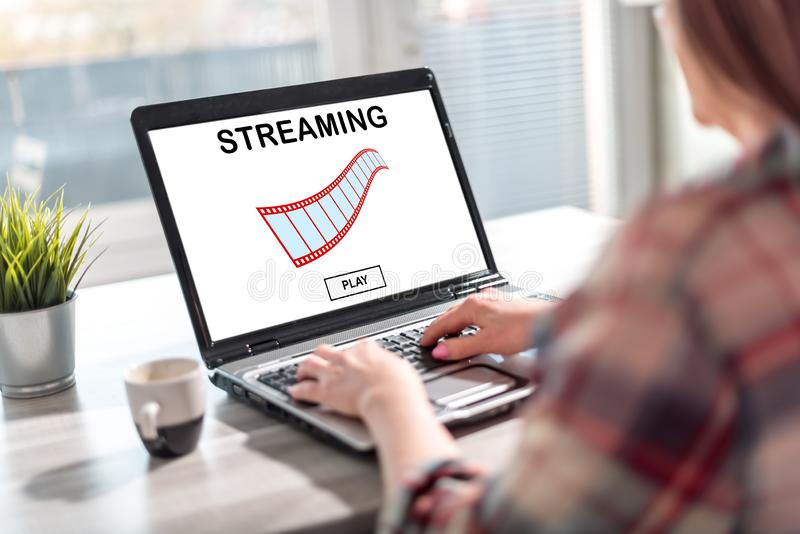 Video streaming concept on a laptop screen. Laptop screen displaying a video streaming concept royalty free stock photos