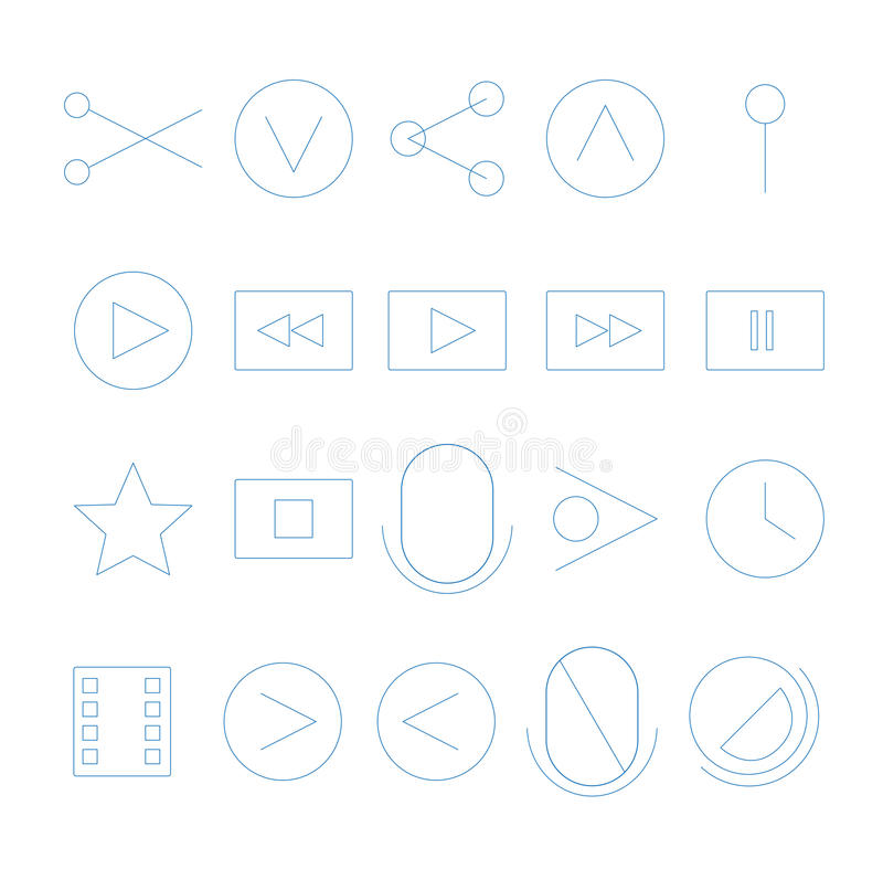 Download Video Streaming Outline Icons Stock Vector - Illustration of outline, clip: 41889312
