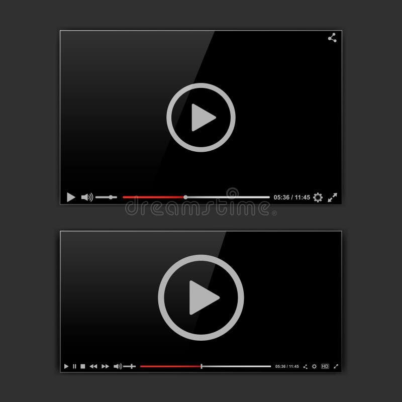 Video struttura moderna Mokup dell'interfaccia del riproduttore video o UI per il web Illustrazione di vettore illustrazione vettoriale