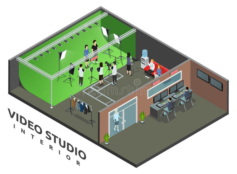 Video Studio Interior Isometric View stock illustration
