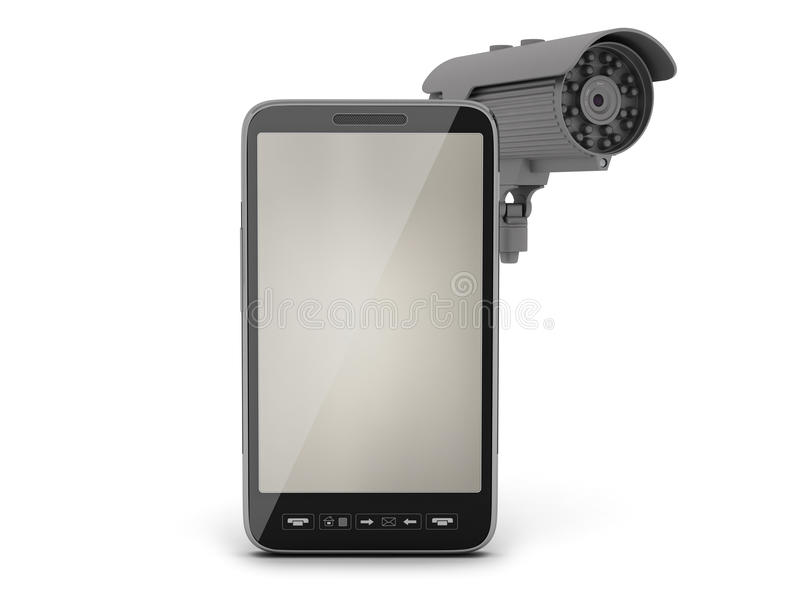 Video surveillance camera and cell phone. On white background royalty free illustration