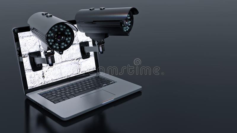 Video surveillance camera and laptop. Design made in 3D vector illustration