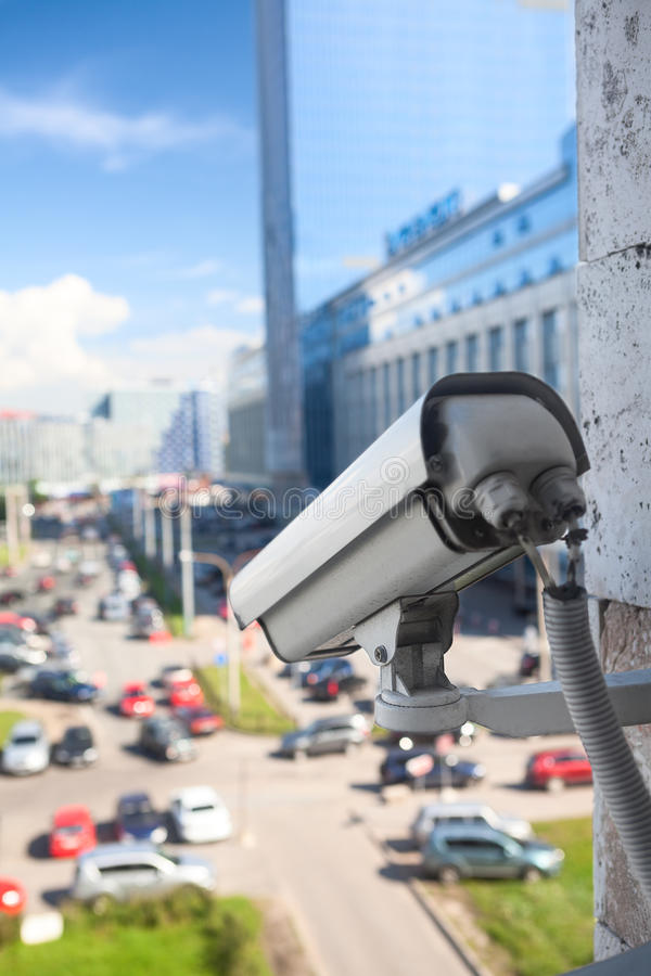 Video Surveillance Camera Close-up View Stock Image - Image of