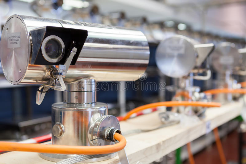 Video surveillance cameras manifacture. Examples stock photos