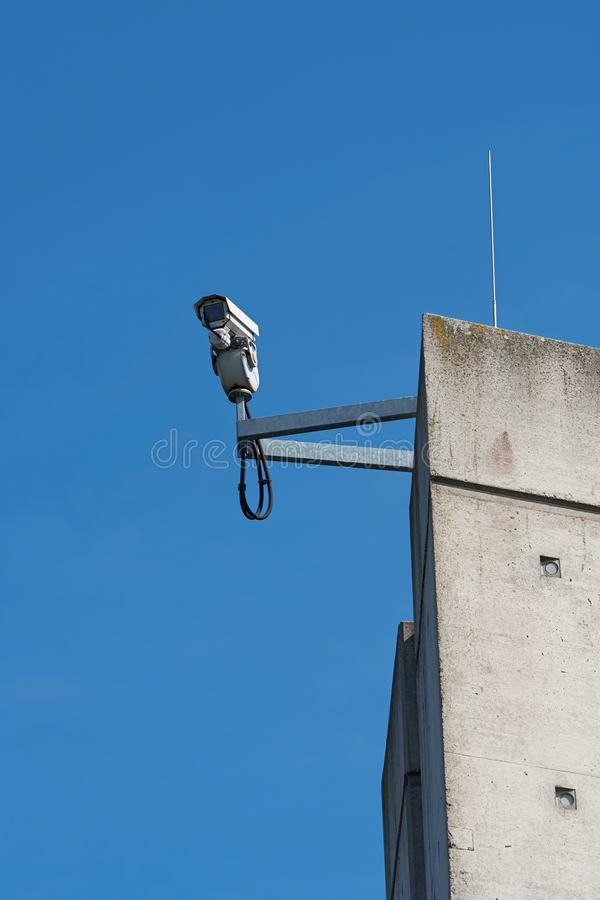 Video surveillance on a pillar. Of the trough bridge at Hohenwarthe in Germany stock photo