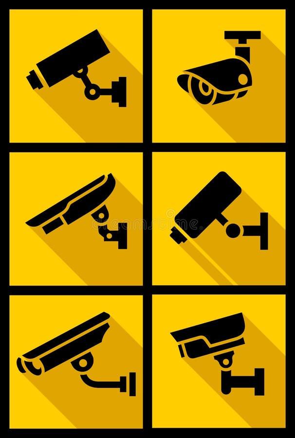Video surveillance, set yellow square royalty free illustration