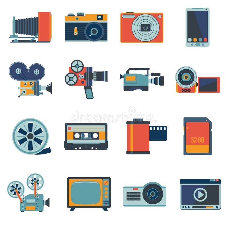 Video symbolsuppsättning för foto vektor illustrationer