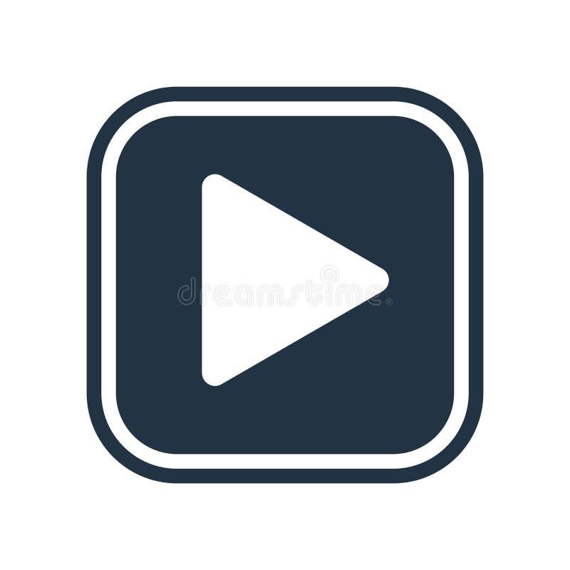 Video symbolsvektor för lek som isoleras på vit bakgrund, lekvideo stock illustrationer