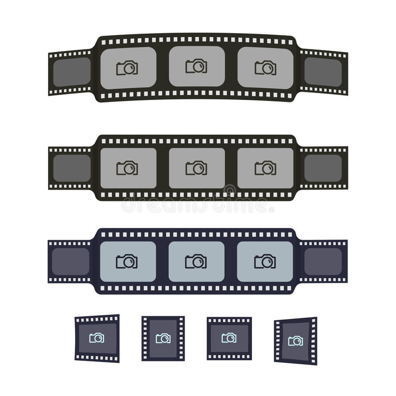 Video tape frames templates for your photo design. Flat film and photo tapes collection for design, banners, text royalty free illustration