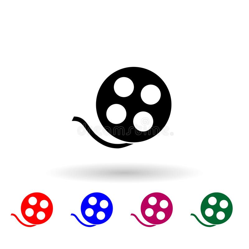 Video tape multi color icon. Simple glyph, flat vector of media icons for ui and ux, website or mobile application royalty free illustration