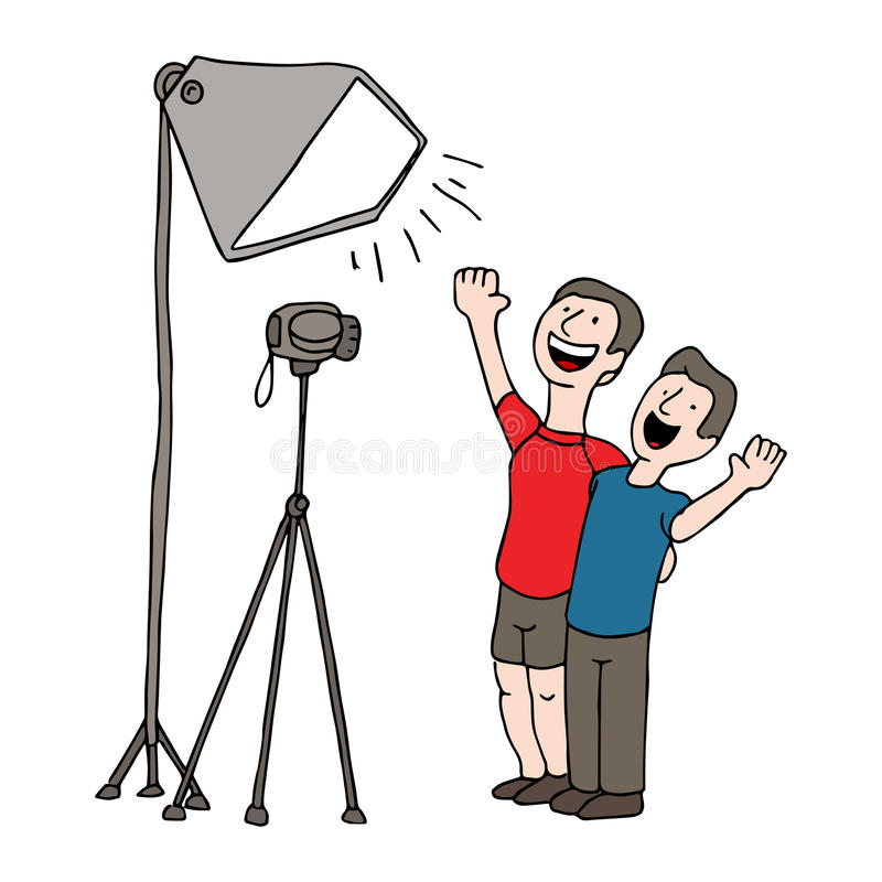 Video Taping Session. An image of two men having a video taping session royalty free illustration