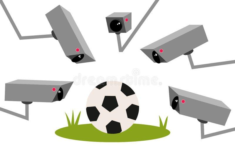 Video teknologi i fotboll, VAR, boll på fotbollfält med många bevakningkameror som omger det, kommersialisering royaltyfri illustrationer