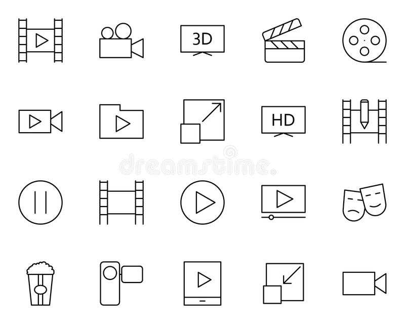 Video thin line icons set. Vector pictograms royalty free illustration