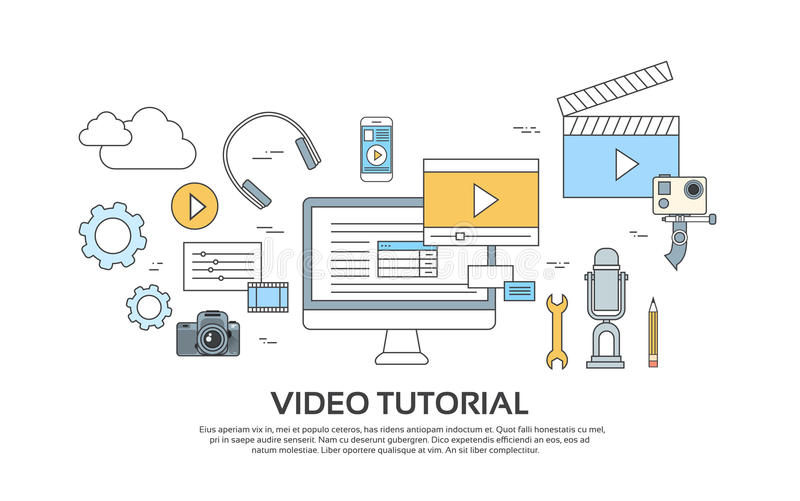 Video Tutorial Editor Concept Modern Technology Set Icons royalty free illustration