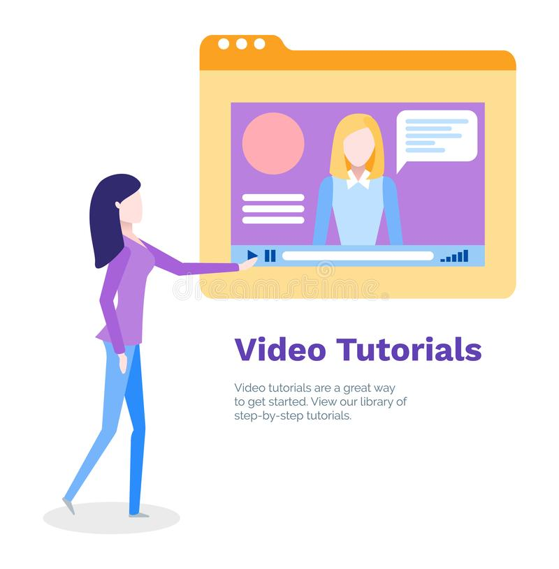 Video Tutorials for Student Studying Online Poster royalty free illustration